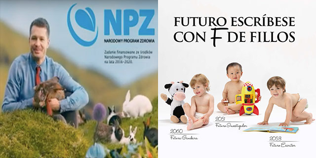 """Reproduce like bunnies,"" says the Polish health ministry in the lefthand advert. The Galician campaign at right.}"